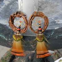 Mystic Eye Halloween Dream Catcher Sterling Silver Earrings  (ea118)