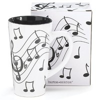 Jazz It up Tall Ceramic Mug Musical Notes Holds 16 Oz