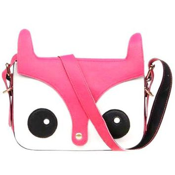 Owl Fox Face Shaped Animal Themed Cross body Shoulder Bag for Women in Pink