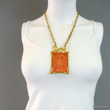 Asian Inspired Necklace Dragon Necklace Gold Tone Pendant Necklace Chain Necklace ART Brand 1960s Necklace Cherry Blossom Pendant