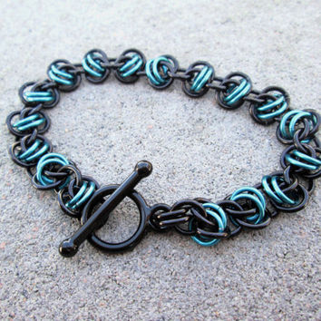Chainmaille Jewelry, Chain Bracelet, Metal Bracelet, Edgy Jewelry, Toggle Bracelet, Turquoise Chainmaille, Chain Mail Chainmail Chain Maille