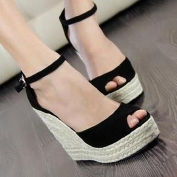 Bohemian Wedge Women sandals Slipper high wedge open toe peep toe