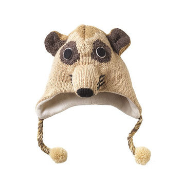 Kid's Meerkat Knitted Hat 00% wool with a fleece lining to provide extra warmth