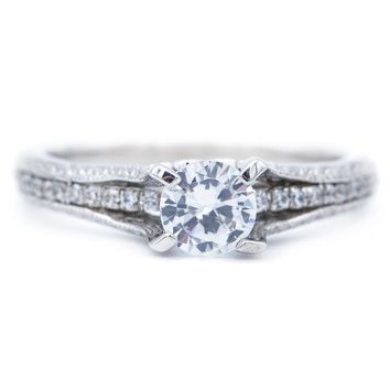 6.0mm Round Moissanite 14K White Gold Engagement Ring And Wedding Band Set