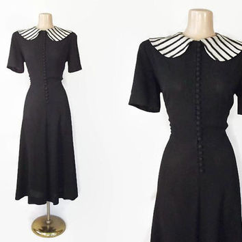 Vintage 40s Dress | 1940s Rayon Crepe Dress | Metallic Striped Peter Pan Collar | Film Noir | Fit & Flare Dress | Little Black Dress | Large