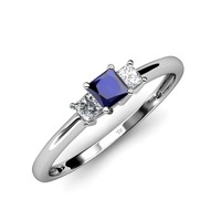 Eadlin Blue Sapphire and Diamond Three Stone Ring - Blue Sapphire and Diamond Princess Cut Three Stone Ring 0.25 ct tw in 14k White Gold. | Trijewels