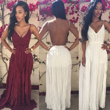 Fashion Ruffle Hollow Embroidery Lace Deep V Sleeveless Backless Strap Maxi Dress
