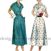 1950s Day or Evening Dress- Scalloped & Button Trim at Shoulders/ Pockets Gored Skirt BUST 34 Simplicity 3281 Womens Vintage Sewing Pattern