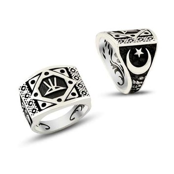 Arrow bow crescent star sterling silver mens ring