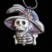 Day of The Dead Ceramic Pendant Necklace Jewelry Dios de la meurte Sugar skull