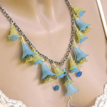 Blue and Yellow Flower Necklace Handcrafted Crystal Antique Chain Short