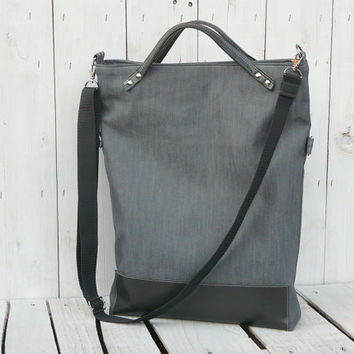 grey tote bag leather canvas foldover crossbody modern everyday bag messenger bag