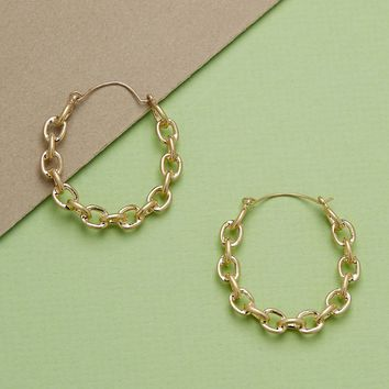 Chain Link Detail Medium Hoop Earrings