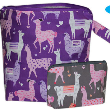 NEW Extra Large Zippered Project Bag | Knitting Bag | Zipper Bag | Llama | Alpaca