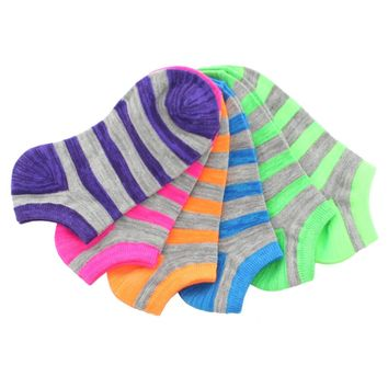 Stripe Over Low Cut Socks (6 Pack Special)