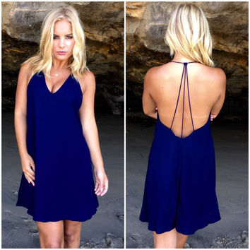 Back To Square One Shift Dress In Navy