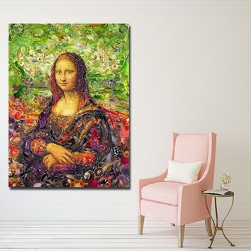 Abstract Art Oil Painting Canvas Printed Painting Mona Lisa Portrait Painting Wall Art Prints Poster for Living Room Decor