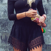 Black Slash Collar Long Sleeve Lace Romper