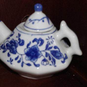 Vintage Blue and White Ceramic Nantucket Teapot