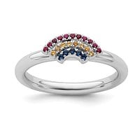 Sterling Silver Stackable Expressions Rainbow Ring