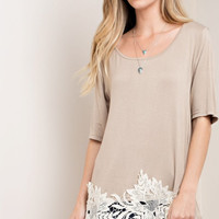 Mocha Lace Applique Tee