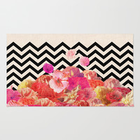 Chevron Flora II Rug by Bianca Green