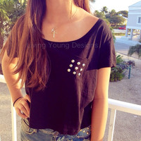 Studded Crop Top Black Retro Custom Pocket by LivingYoungDesigns