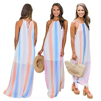 Spaghetti Strap Sleeveless Gradient Color Long Dress