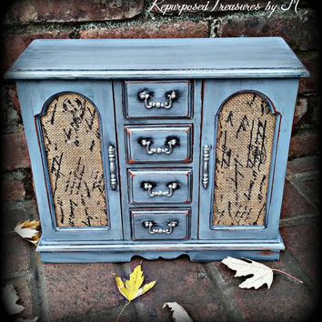 Shabby chic jewelry armoire, shabby chic jewelry box, rustic jewelry box, gray jewelry box, jewelry box, girls gift, women's Christmas gift,