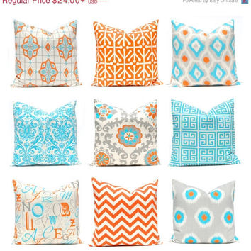 Orange Pillows Pair Of Two Turquoise Chevron Pillow Decorative