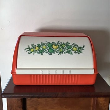 "Vintage 1970s Rare Melamine Bread Box Featuring ""Spice of Life""Pattern in a Green Tone / Plastic Bread Bin / Made in Australia"