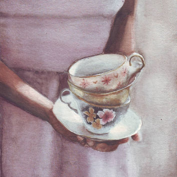 HM093 Original painting watercolor art Woman with Teacups by Helga McLeod