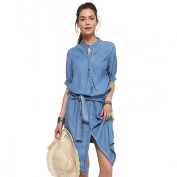 Dress Single Breasted Stand Butterfly Sling Slim Cowboy Dress 1/2 Sleeve Blue Denim Bodycon | Best Deal Online