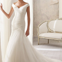 Simple Elegant Sexy Open V Back Cap Sleeve Organza Short Train Mermaid Wedding Dress Bridal Gown, Off Shoulder V Neck line Wedding dress
