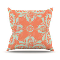 "Nandita Singh ""Motifs in Peach"" Orange Floral Throw Pillow"