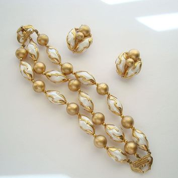 Deauville Bracelet Clip Earrings Set Goldtone Caged Pearls Vintage Jewelry