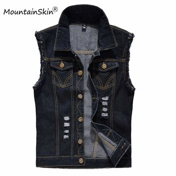 Vintage Design Men's Denim Vest Male Black Color Slim Fit Sleeveless Jackets Men Hole Jeans Brand Waistcoat Plus Size 6XL LA034
