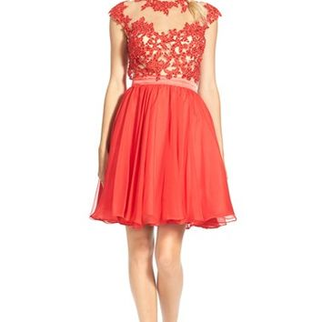Junior Women's Mac Duggal 'Nina' Embellished Skater Dress,