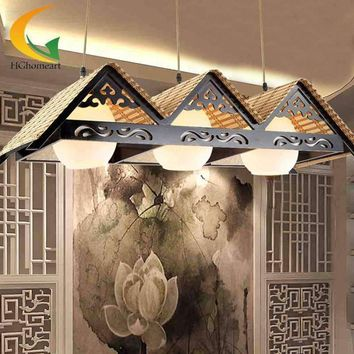 Modern Southeast Asian style handmade bamboo lamp lighting creative meals chandeliers living room lights aisle light