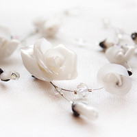Bridal White Roses and Swarovski necklace by nesluxury on Etsy