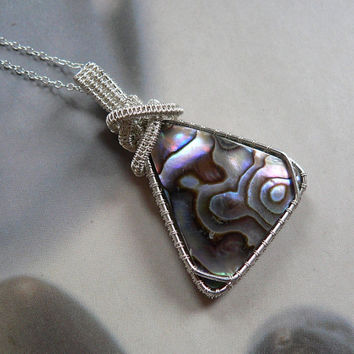 Paua shell Sterling silver necklace, abalone wire wrapped necklace, OOAK jewelry