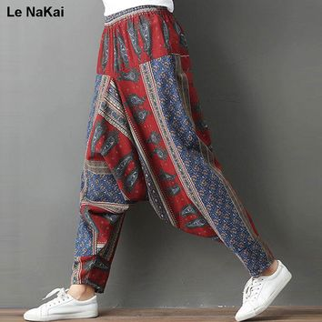 Cotton yoga pants for women high waist print pantalones yoga mujer Bohe Plus Size Beach Pant Colorful print Hippi yoga trousers