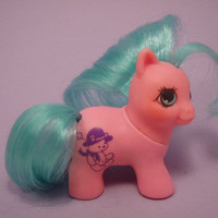 My Little Pony Teeny Tiny Ponies Baby Tabby G1 Pink and Blue MLP
