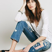 Free People Womens Patchwork Relaxed Jean