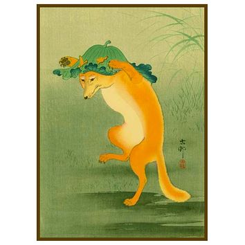Japanese Artist Ohara Shoson's The Dancing Fox Counted Cross Stitch Pattern