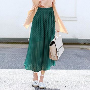 STYLEDOME Women Loose Trousers Elegant New Fashion Casual Solid Color  High Waist Chiffon Pants Trousers High Waist Wide Leg Pants
