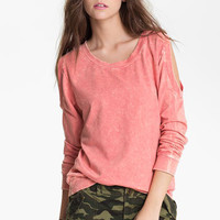 Painted Threads Acid Wash Cutout Sweatshirt (Juniors) | Nordstrom