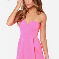 LULUS Exclusive A New Affair Strapless Hot Pink Dress