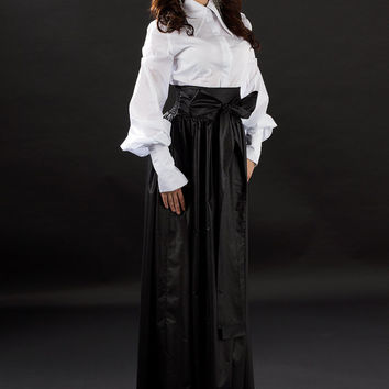 Black maxi skirt / Cotton maxi skirt / Black long cotton skirt / Black long skirt / Maxi skirt / high waist skirt
