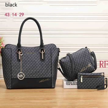 MK 2018 female exquisite high quality three-piece shoulder bag handbag clutch bag F-RF-PJ black